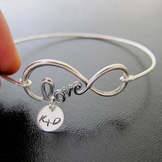 Infinity Love Bracelet - Personalized Girlfriend Gift - Birthday Gift for Girlfriend - Anniversary Gift for Her Please mention initials in notes to seller during checkout and if you want a plus sign + or ampersand &... I can also stamp a single initial. A sterling silver infinity love