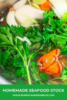 There's nothing like a good homemade seafood stock to add a ton of flavor to your favorite seafood recipes. This shell fish stock is made with roasted sea fish shells and adds such depth to a good seafood soup recipe. #homemadeseafoodstock #seafoodstockrecipe#shellfishstock #seafoodstockhowtomake Seafood Soup Recipes, Prawn Recipes, Lobster Recipes, Dinner Recipes, Seafood Stock, Fish And Seafood, Bubble Recipe, Fish Stock, Scallop Recipes