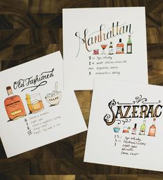 Lettered Libations Cocktail Recipe Art Prints, Set of 3 by Joanne Shih Design on Scoutmob