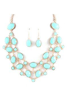 Elizabeth Statement Necklace in Aspen Blue on Emma Stine Limited