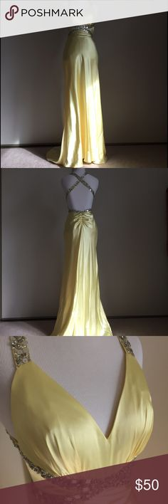 Golden Goddess Dress For those with the golden hearts worthy of Midas' touch. 💛 Perfect for prom, quinceañera, or special events. 100% polyester silk. Worn only once. Comes from a loving, smoke-free home. No rips or holes. Minor unnoticeable stains on lining of left breast and on bottom of train at the back of the dress as pictured above. Morgan & Co. Dresses Prom