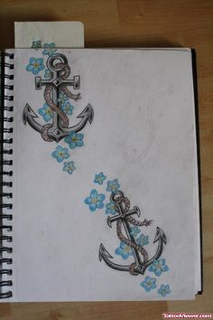 Blue Flowers And Anchor Tattoo Design
