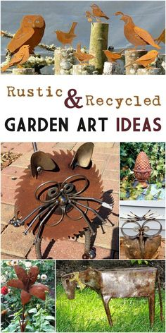 Are you on Team Rust? Here's lots of rustic and recycled garden art ideas for your garden! #sponsored