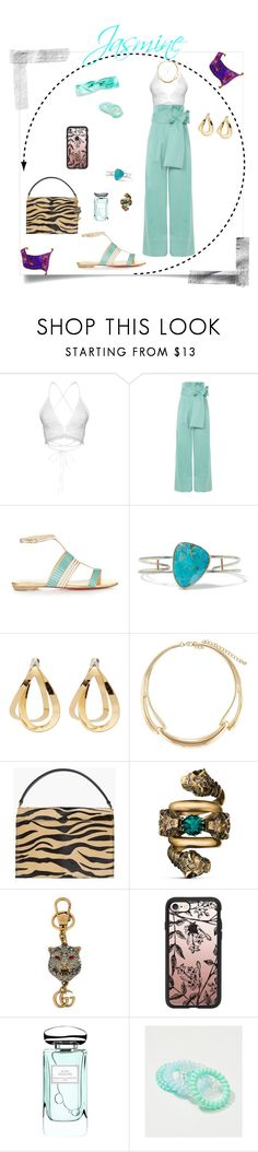 """Disney's Princess Jasmine"" by krhymell ❤ liked on Polyvore featuring Topshop, Christian Louboutin, Melissa Joy Manning, Charlotte Chesnais, Kenneth Jay Lane, Gucci, Casetify, By Terry, LOFT and Red Camel"