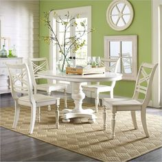 Riverside Furniture Placid Cove 5 Piece Round Dining Table Set in Honeysuckle White - 16753-16754-5Pc-DiningSet