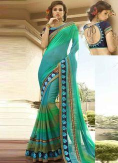 Amazing See Green And Sky Blue Shaded Patch Border Designer Sarees  http://www.angelnx.com/Sarees/Designer-Sarees
