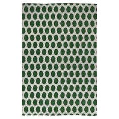 this artfully crafted flatweave rug, showcasing a geometric polka-dot motif for eye-catching appeal.