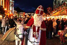 La Saint-Nicolas  Dans l'Est de la France, en Allemagne et en Belgique, le jour le plus attendu des enfants est le 6 décembre, avec la venue du Nikolaus (Saint-Nicolas).