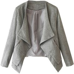 Choies Gray Faux Suede Long Sleeve Slim Blazer