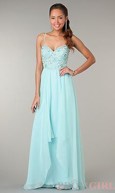 Long Beaded Lace Up Gown by Dave and Johnny at PromGirl.com #prom #dress
