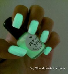 Day Glow Glow in the Dark Nail Polish on Wanelo Dark Nail Polish, Dark Nails, Polish Nails, Mint Nails, Shellac Nails, Green Nails, Nail Nail, Nail Polishes, Cute Nails