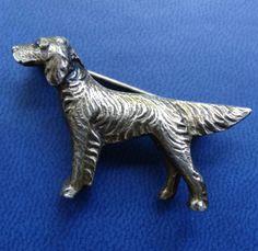 vintage art deco solid SILVER pointer retriever gun dog brooch c pin -C250