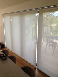 I usually recommend splitting wide ranch sliders or stackers into &… White Blinds, Drapes And Blinds, Blinds For Windows, Drapes Curtains, Windows And Doors, Window Blinds, Living Room Blinds, House Blinds, Slider Curtains