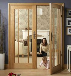 Order internal oak worcester glazed door pair with clear glass, stylish and contemporary look, supplied thickness and rebate. Internal Folding Doors, Internal Double Doors, Painted Interior Doors, Interior Doors For Sale, Interior Glazed Doors, Double Doors Interior, Interior Paint, Room Interior, Porch Doors