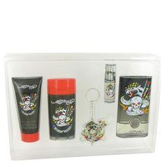 Gift Set -- 3.4 oz Eau De Toilette Spray + 3 oz Shower Gel + .25 oz Mini EDT Spray + 2.75 oz Deodorant Stick + Tattoo Key Chain