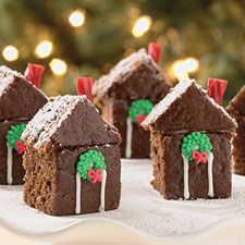"gingerbread house cakes..3"" high...build a holiday city...very cute! @Cassie Walton this reminds me of something amazing and holiday-ish that you would do!"