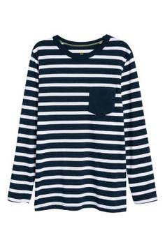 H&M Long-sleeved Jersey Shirt - Dark blue/white striped - Kids Blue Fashion, Kids Fashion, Dark Blue, Blue And White, H&m Online, Jersey Shirt, Fashion Online, Long Sleeve Shirts, Organic Cotton