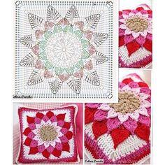 Home Decor Crochet Patterns Part 49 - Beautiful Crochet Patterns and Knitting Patterns Motif Mandala Crochet, Crochet Mandala Pattern, Crochet Motifs, Granny Square Crochet Pattern, Crochet Flower Patterns, Crochet Diagram, Crochet Chart, Knitting Patterns, Diy Crochet Pillow