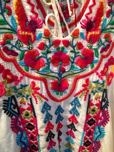 details on one. Mexican Embroidery, Folk Embroidery, Ribbon Embroidery, Mexican Fashion, Mexican Outfit, Mexican Art, Mexican Style, Textile Fabrics, Textile Art