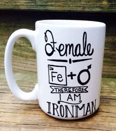 Female Ironman Coffee Mug Tea Cup Iron Element Female Symbol on Etsy, $14.50 Love it!!!  #ironman #ironmanmug #coffeemug