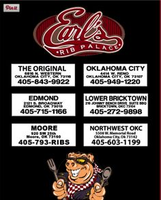All Earls Rib Palace locations in the OKC Metro area