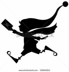 Silhouette Of Runing Christmas Elf With Letter (envelope) Royalty Free Cliparts, Vectors, And Stock Illustration. Office Party Decorations, Christmas Window Decorations, Illustration Noel, Christmas Illustration, Christmas Elf, Christmas Crafts, Shilouette Cameo, Christmas Stencils, Christmas Yard