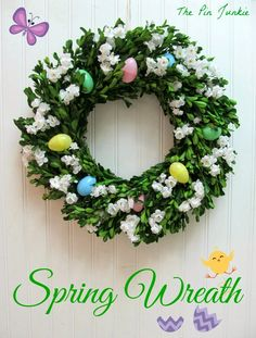 Easy to make spring wreath with items from the dollar store!