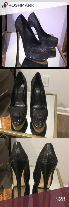 Truth or Dare Madonna heels Gorgeous platform truth or dare madonna collection black heels with detailing.   These are show stoppers ! They have a gold emblem detail on the sole truth or dare  Shoes Heels