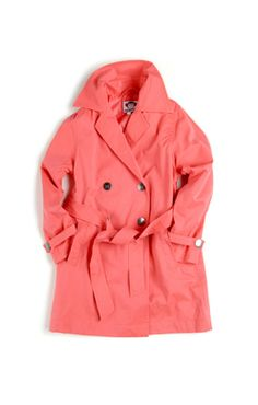 Girls Appaman Trench Coat in Coral