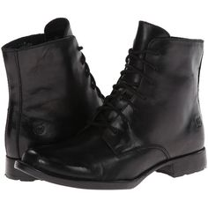 Born Orlene (Black Burnished Leather) Women's Dress Lace-up Boots ($98) ❤ liked on Polyvore featuring shoes, boots, ankle booties, ankle boots, black, black military boots, black lace up boots, short black boots and combat boots