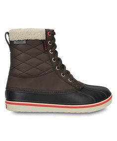 Loving this Crocs Espresso & Red AllCast Waterproof Duck Boot - Women on #zulily! #zulilyfinds