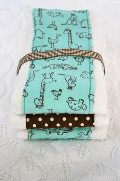 Baby Burp Cloths Set of 3 brown aqua animals by mypoplin on Etsy, $14.00