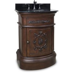 Pic Of  Traditional Bathroom Vanity with Black Granite Top u Sink Powder Room