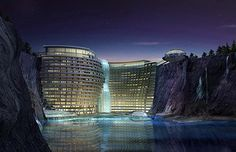 An old flooded quarry in Shanghai turned into a luxurious hotel. Isn't it magnificent?