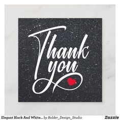 Elegant Black And White Thank You Square Business Card
