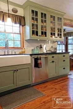 Kitchen Cabinets Remodeling Sage Green Country Cottage Kitchen with Farmhouse Sink - transitional - kitchen - other metro - Caves Kitchens - Farmhouse Cabinets, Farmhouse Kitchen Cabinets, Kitchen Cabinet Colors, Kitchen Redo, Kitchen Remodel, Kitchen Ideas, Farmhouse Sinks, Kitchen Walls, Farmhouse Style