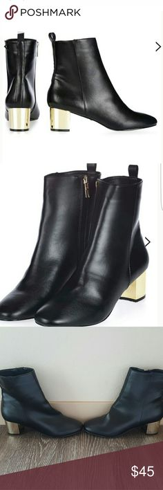 New topshop bella ankle boots Topshop bella ankle boots new without tag used as store display never worn size 38. Adorable black faux leather with shiny gold thick heal and gold zipper so modern and trendy!! No trades! Topshop Shoes Ankle Boots & Booties