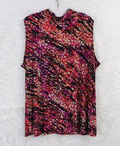 Womens Plus FASHION BUG Abstract Print Cowl Neck Sleeveless Stretch Top Size 1X #FashionBug #Blouse #CareerCasual