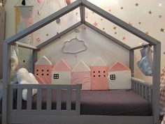 Protective bedding baby bed, protection reads Montessori, cabin bed, child's comfort pillows, crib decoration. Kids Bedroom Designs, Room Design Bedroom, Baby Room Design, Baby Bedroom, Baby Boy Rooms, Little Girl Rooms, Baby Room Decor, Chambre Nolan, Crib Decoration