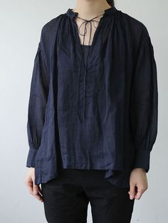 Arts & Science - String gather blouse short~ramie