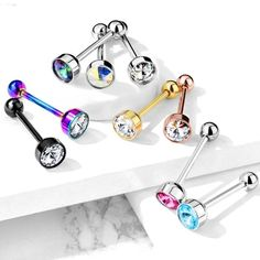 Colorline Ribbon Bow Tie 316L Surgical Steel Freedom Fashion Barbell Tongue Ring