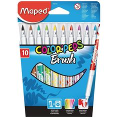 "The MAPED ""COLOR'PEPS BRUSH"" Brush Pens Produce Colourful Designs Just Like a Paint Brush - but without the mess! COLOR'PEPS BRUSH PENS. Cardboard Wallet of 10 Assorted Colours. Wallet Contains 10 Colours. 