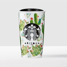 Arizona Double Wall Traveler. A double-walled ceramic travel mug featuring the cactus-covered Arizona landscape.