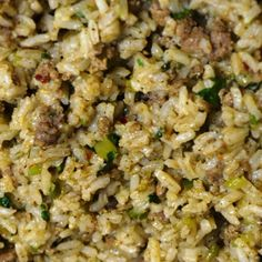"Cajun rice or ""dirty rice"" is a well loved New Orleans dish and a Louisiana classic, with as many different recipes as there are cooks. Traditional Dirty Rice uses chopped chicken livers which gives it a distinctive flavor and a dark color dubbing it ""di Cajun Dishes, Rice Dishes, Food Dishes, Dishes Recipes, Louisiana Recipes, Southern Recipes, Southern Side Dishes, New Orleans Dirty Rice Recipe, New Orleans Recipes"