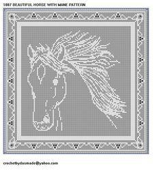 1087 Beautiful horse with mane file crochet doily wall hanging pattern Crochet Doily Patterns, Basic Crochet Stitches, Afghan Crochet Patterns, Thread Crochet, Filet Crochet, Crochet Doilies, Knit Crochet, Frozen Crochet, Giraffe Crochet