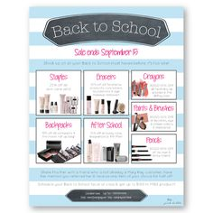 Mary Kay Back to School Sale Flier! Customize the dates & details + add your own contact info! Find it only at www.thepinkbubble.co!!