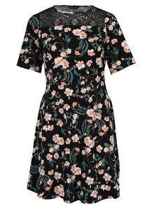 Černé květované šaty s krátkým rukávem Dorothy Perkins Curve-510