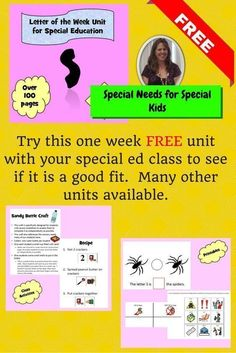 FREE Letter of the Week Unit for Special Education.  This unit has over 100 pages of material.  There are books, group activities including games, art project, and cooking activity.  There are also individual printable activities as well.  There is a social story also included.