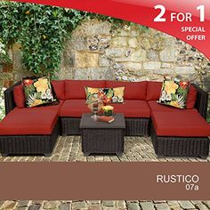 Rustico 7 Piece Outdoor Wicker Patio Furniture Set 07a ** Check out this .