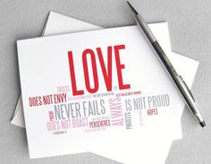 Wedding card, anniversary card - Love is patient, love is kind: 1 Corinthians 13 modern christian card. $4.00, via Etsy.